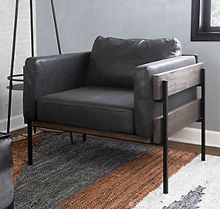 Kari Farmhouse Accent Chair in Black Metal, Gray Wood, and Black Faux Leather, Black/Gray, rollover