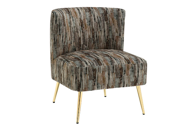 Fran Contemporary Slipper Chair in Gold Metal and Gray Fabric, Gold/Gray, large