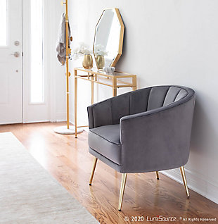 Tania Contemporary/Glam Accent Chair in Gold Metal and Gray Velvet, Gold/Gray, rollover
