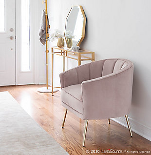 Tania Contemporary/Glam Accent Chair in Gold Metal and Blush Pink Velvet, , rollover