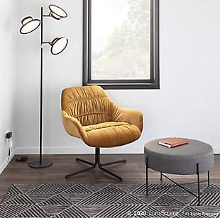 Wayne Contemporary Swivel Lounge Chair in Black Metal and Chartreuse Velvet, Black/Chartreuse, rollover