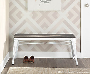 Oregon Industrial-Farmhouse Backless Bench in Vintage White Metal and Espresso Bamboo, Vintage White/Espresso, rollover
