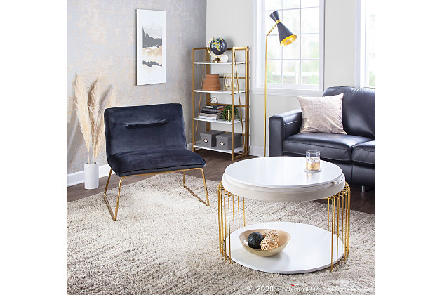 Casper Contemporary Accent Chair in Gold Metal and Black Velvet, Gold/Black, large