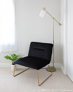Casper Contemporary Accent Chair in Gold Metal and Black Velvet, Gold/Black, rollover