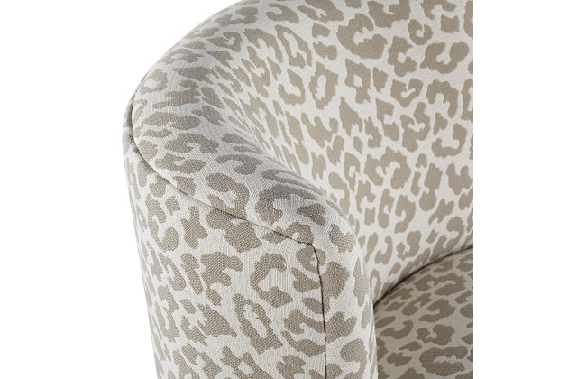 Fran Contemporary Slipper Chair in Gold Steel and Tan Leopard Fabric, Gold/Tan, large