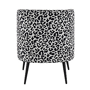 Fran Contemporary Slipper Chair in Black Steel and Black Leopard Fabric, Black, large