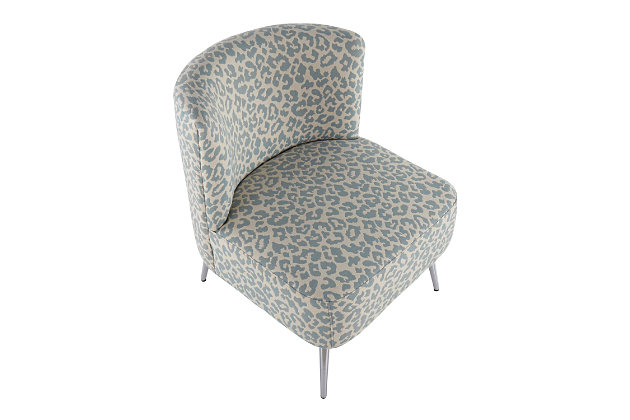 Fran Contemporary Slipper Chair in Chrome and Blue Leopard Fabric, Chrome/Blue, large