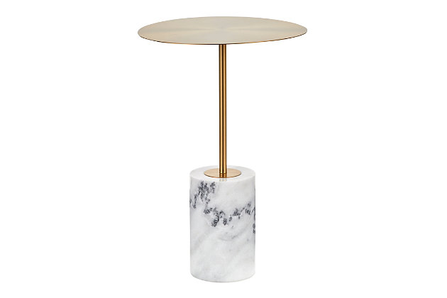 Symbol Contemporary Side Table in Gold Metal and White Marble, , large