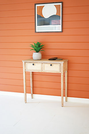 Kalalou Wood Table With Two Cane Drawers, , rollover