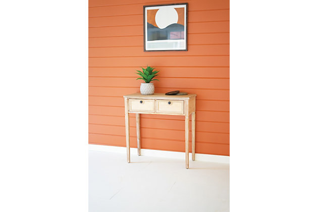 Kalalou Wood Table With Two Cane Drawers, , large