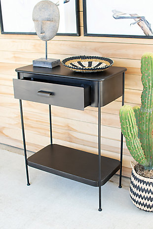 Kalalou Metal Side Table with Drawer, , rollover