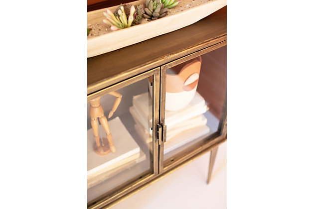 Kalalou Antique Brass and Glass Two Door Cabinet, , large