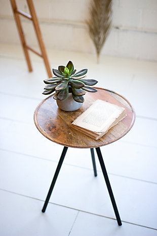 Kalalou Round Mango Side Table with Metal Hairpin Legs, , rollover