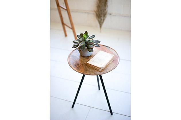 Kalalou Round Mango Side Table with Metal Hairpin Legs, , large
