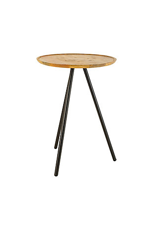 Kalalou Round Mango Side Table with Metal Hairpin Legs, , large