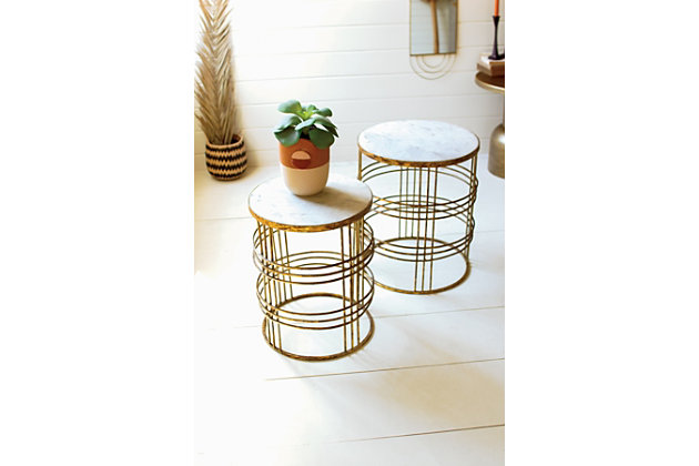 Kalalou Round Marble Top Tables with Rustic Gold Metal Bases (Set Of 2), , large