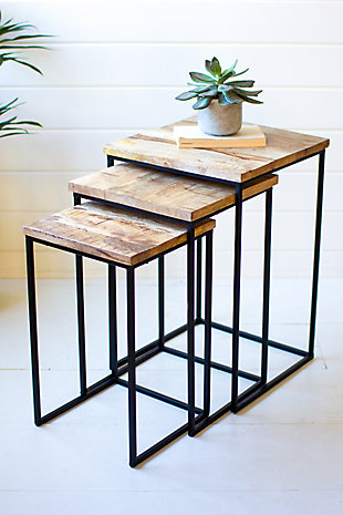 Kalalou Nesting Square Wood and Iron Side Tables (Set Of 3), , rollover