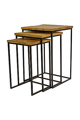 Kalalou Nesting Square Wood and Iron Side Tables (Set Of 3), , large