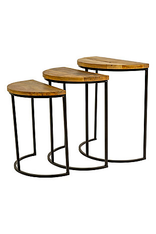 Kalalou Nesting Demi Lune Wood and Iron Side Tables (Set Of 3), , large