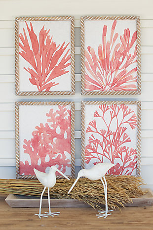 Kalalou Set of Four Coral Prints with Wooden Frames, , rollover