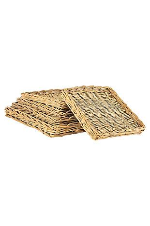Kalalou Set of 5 Square Rattan Trays, , large