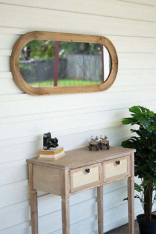 Kalalou Oval Wood Framed Mirror, , rollover