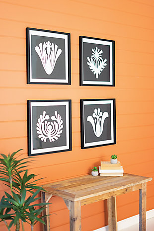 Kalalou Set of Four Framed Black and White Graphic Prints Under Glass, , rollover
