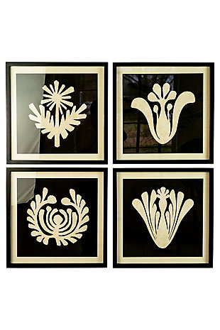 Kalalou Set of Four Framed Black and White Graphic Prints Under Glass, , large