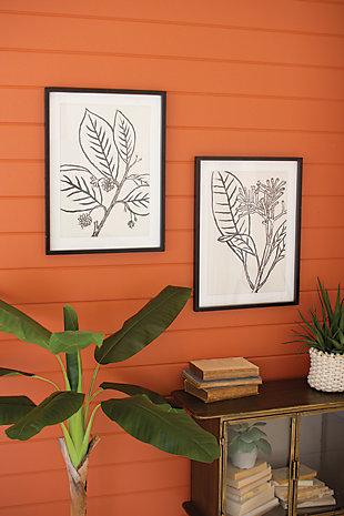 Kalalou Set of Two Framed Black Leaves Prints Under Glass, , rollover
