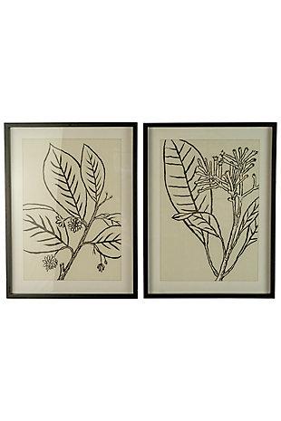 Kalalou Set of Two Framed Black Leaves Prints Under Glass, , large