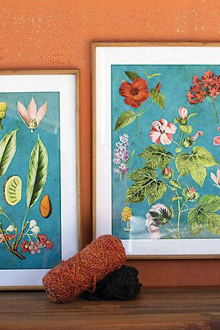 Kalalou Set of 2 Framed Flower Prints with Blue Background Under Glass, , rollover