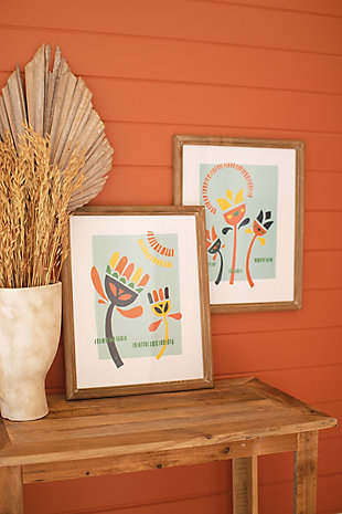 Kalalou Set of Two Funky Flower Prints Under Glass, , rollover