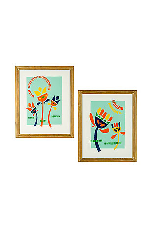 Kalalou Set of Two Funky Flower Prints Under Glass, , large
