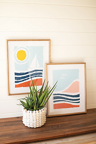 Kalalou Set of Two Seaside Prints Under Glass, , rollover