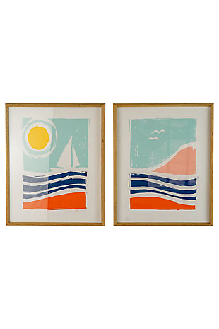 Kalalou Set of Two Seaside Prints Under Glass, , large