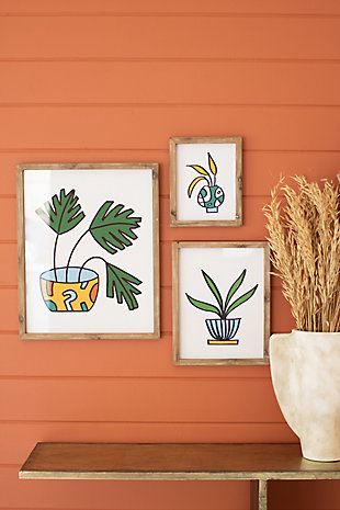Kalalou Set of Three Colorful Plant Prints Under Glass, , rollover