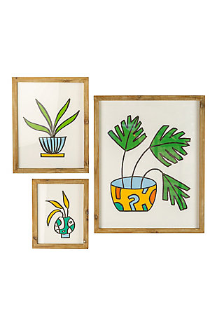 Kalalou Set of Three Colorful Plant Prints Under Glass, , large