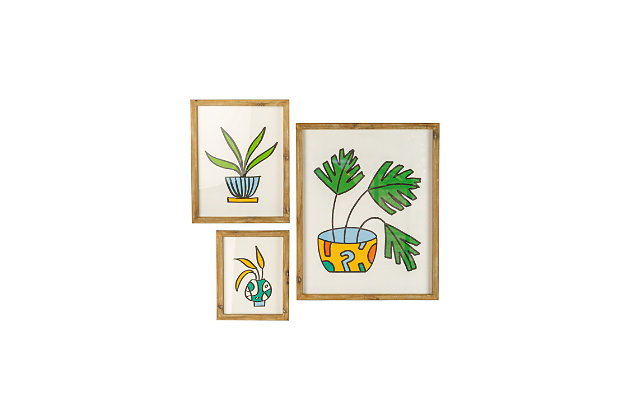 Kalalou Set of Three Colorful Plant Prints Under Glass, , large