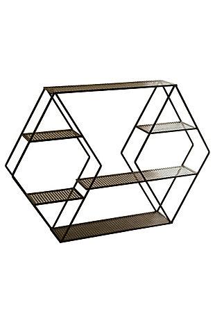 Kalalou Metal Wall Shelf - Diamonds, , large