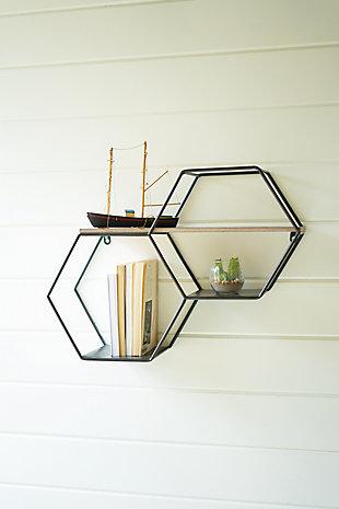 Kalalou Metal and Wood Hexagon Wallshelf, , rollover