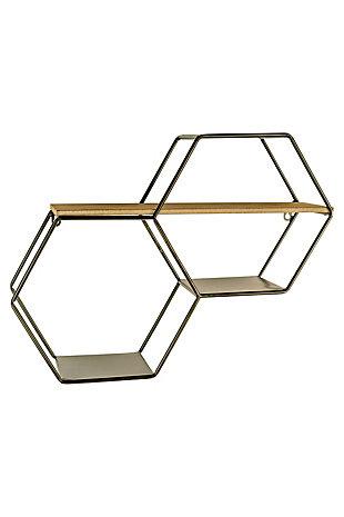 Kalalou Metal and Wood Hexagon Wallshelf, , large
