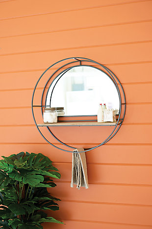 Kalalou Iron and Wood Round Mirrors with Shelves, , rollover