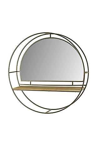 Kalalou Iron and Wood Round Mirrors with Shelves, , large