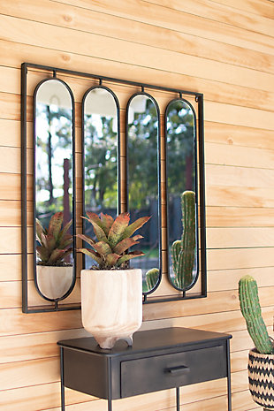 Kalalou Four Oval Mirrors with Square Metal Frame, , rollover