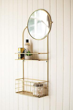 Kalalou Round Mirror with Metal Shelves, , rollover
