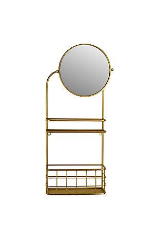 Kalalou Round Mirror with Metal Shelves, , large