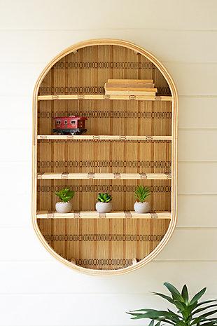 Kalalou Oval Rattan Wall Shelf, , large