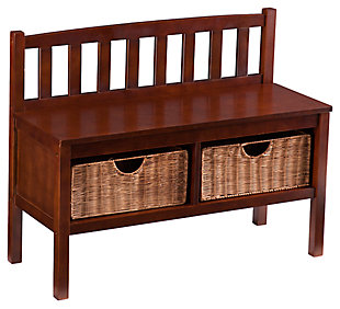 SEI Bench with Storage Baskets, , large