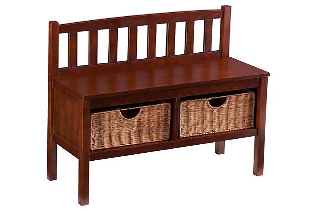Sei Bench With Storage Baskets Ashley Furniture Homestore