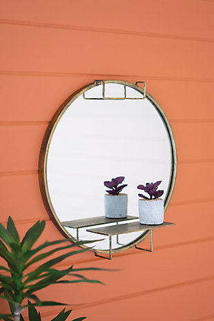 Kalalou Round Mirror with Shelf, , rollover